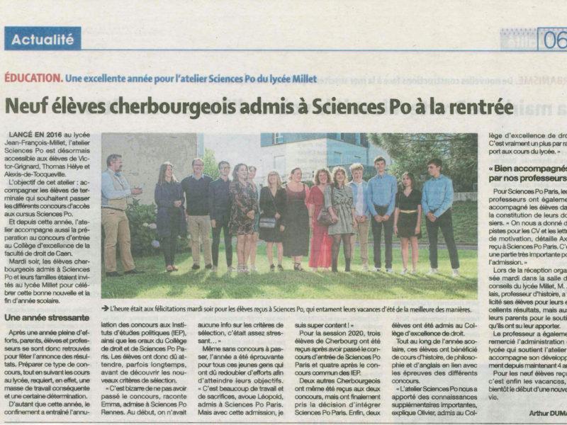 9 élèves cherbourgeois admis à Sciences Po à la rentrée 2020, grand bravo à Emmie et Léopold